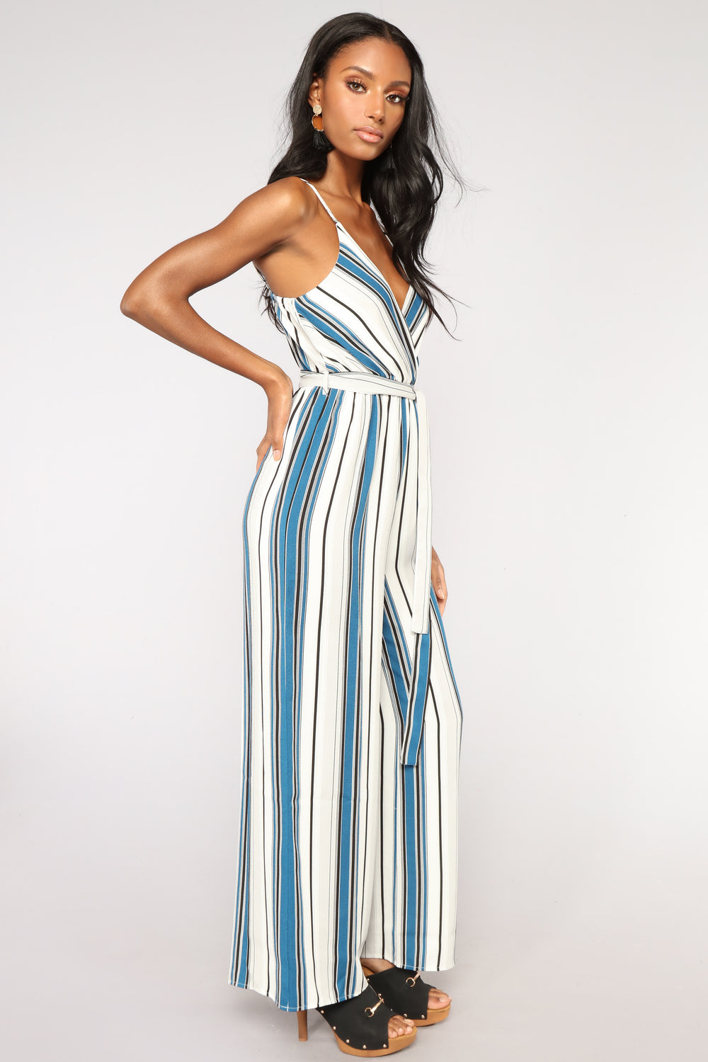 Going Places Stripe Jumpsuit - Teal