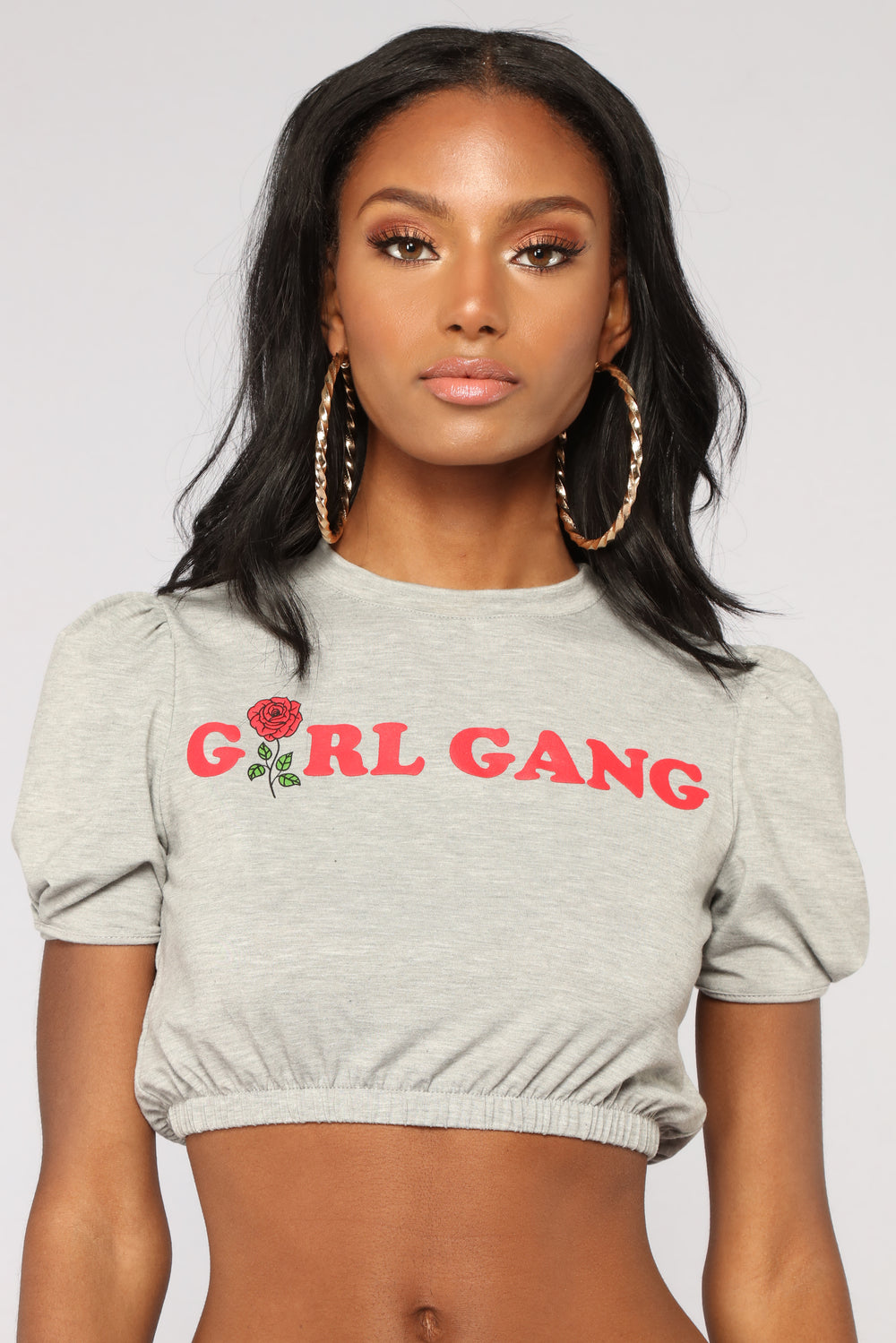 Part Of The Girl Gang Top - Grey