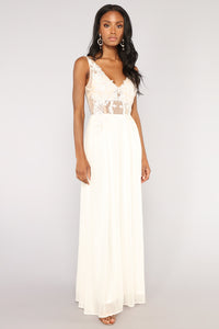 Poetic Embroidered Dress - Cream