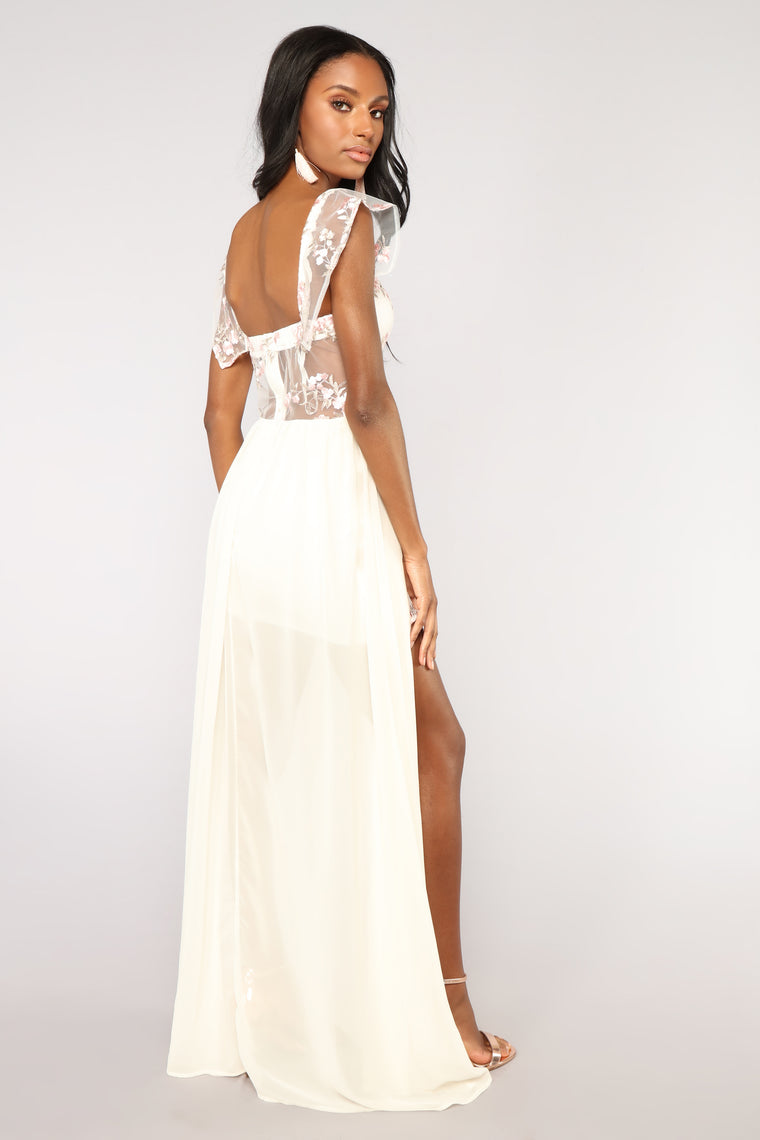 Kind Hearted Embroidered Dress - Ivory