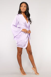 Sugar Land Satin Dress - Lavender