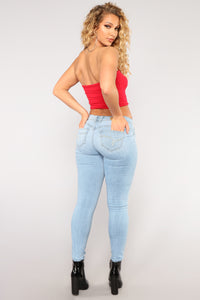 It's The Freaking Weekend Distressed Jeans - Light Blue Wash