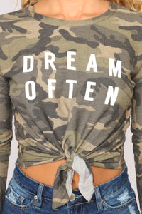 Dream Often Camo Top - Olive