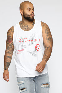 Cousins Tank Top - White/Red Angle 7