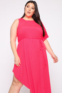 Get To You Again Maxi Dress - Neon Pink Angle 2