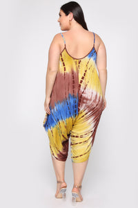 Lets Go Vacay Harem Jumpsuit - Yellow/Combo