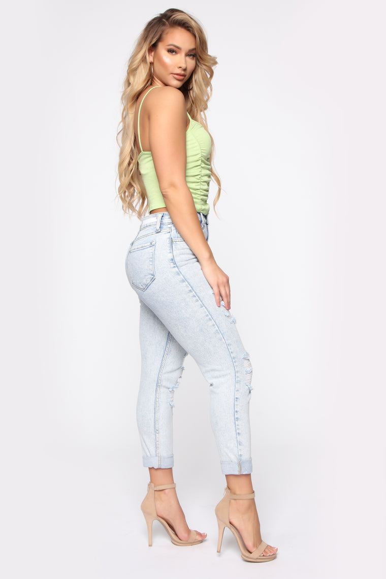 I Got It From My Mama Distressed Jeans - Light Blue Wash