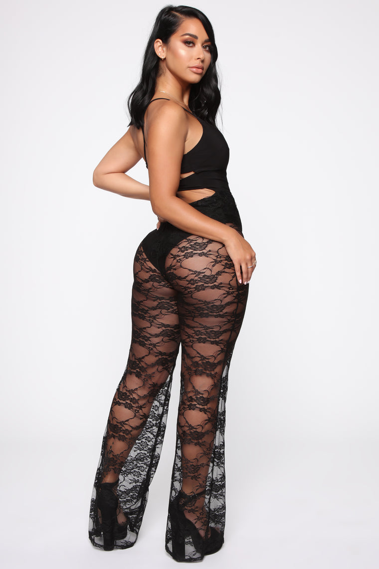 Loving The Spotlight Lace Jumpsuit - Black