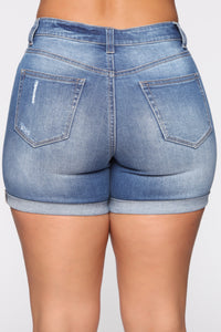 Move Along Bermuda Denim Shorts - Medium Blue Wash