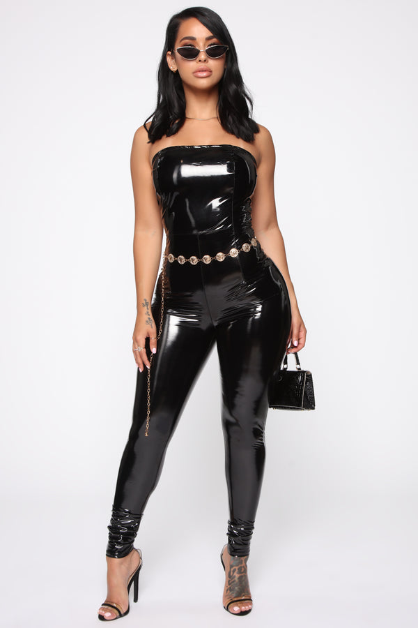 de7f94f37baa Demanding Attention Latex Jumpsuit - Black