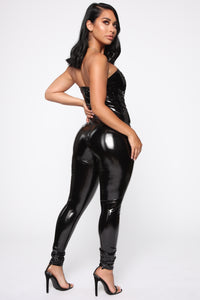 Demanding Attention Latex Jumpsuit - Black