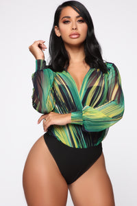 I'm Crazy About You Mesh Bodysuit - Green/Multi