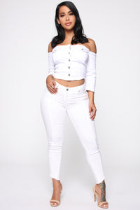 Just A Tease Denim Top - White