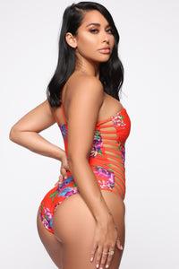 One Sided Story Floral Swimsuit - Red Floral