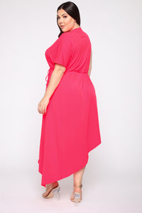 Get To You Again Maxi Dress - Neon Pink Angle 4