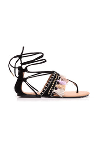 Milani Lace Up Sandal - Black