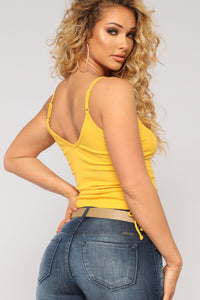 Tied Down Lace Up Tank Top - Mustard
