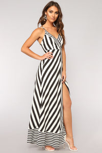 Down For The Ride Stripe Dress - Black/White