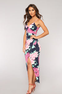 You'll Come Back Floral Dress - Navy