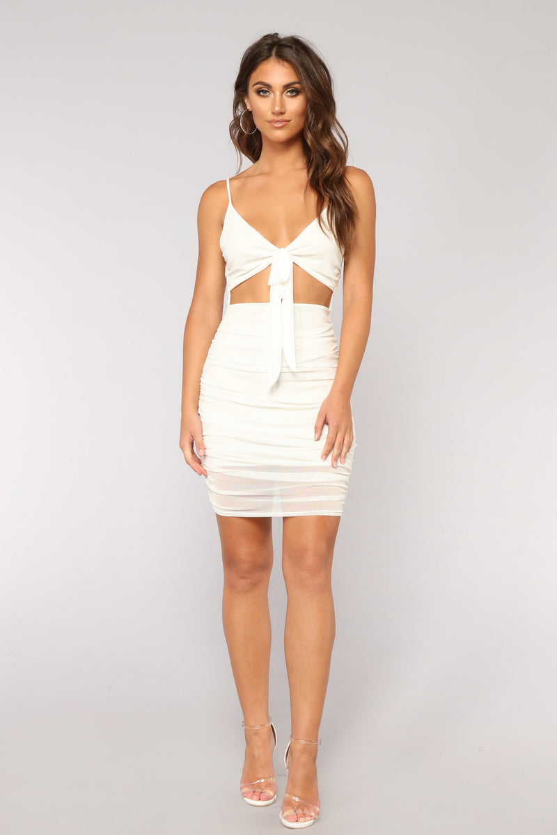 Meshing With Hearts Dress - Off White