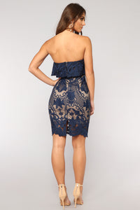 Truth Serum Lace Dress - Navy
