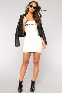 Boy Burn Dress - Off White/Black