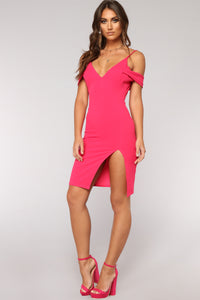 Sweetest Downfall Dress - Hot Pink