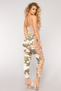 Up To Your Imagination Lace Up Camo Pants - Pink