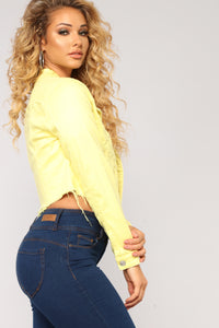 Sweet Escape Cropped Jacket - Yellow