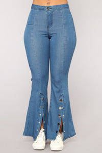 Pro Hustler Snap Button Flare Jeans - Medium Blue Jeans
