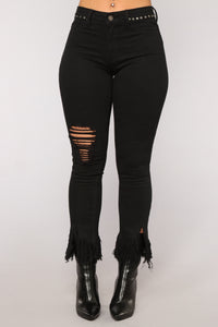 Grover Studded High Rise Jeans - Black