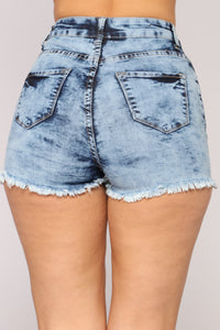 Front Row Distressed High Rise Shorts - Light Blue Wash