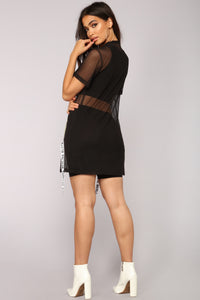 She's Worth It Mesh Tunic - Black