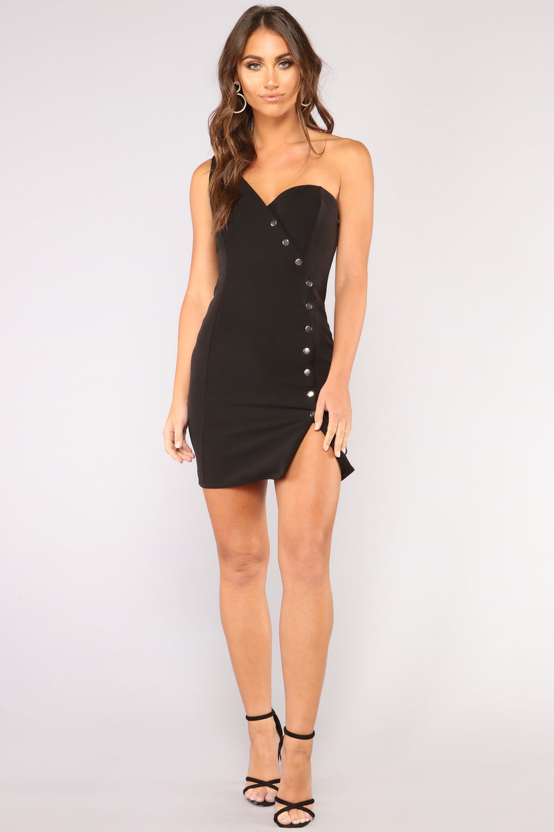 Snap Out Of It One Shoulder Dress - Black