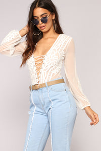 Headed Out Lace Bodysuit - White