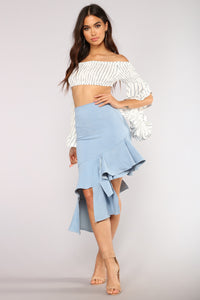 Cha Cha Now Y'all Ruffle Skirt - Light Blue Wash