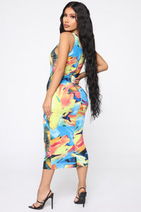 Multi-Talented Sleeveless Midi Dress - MultiColor