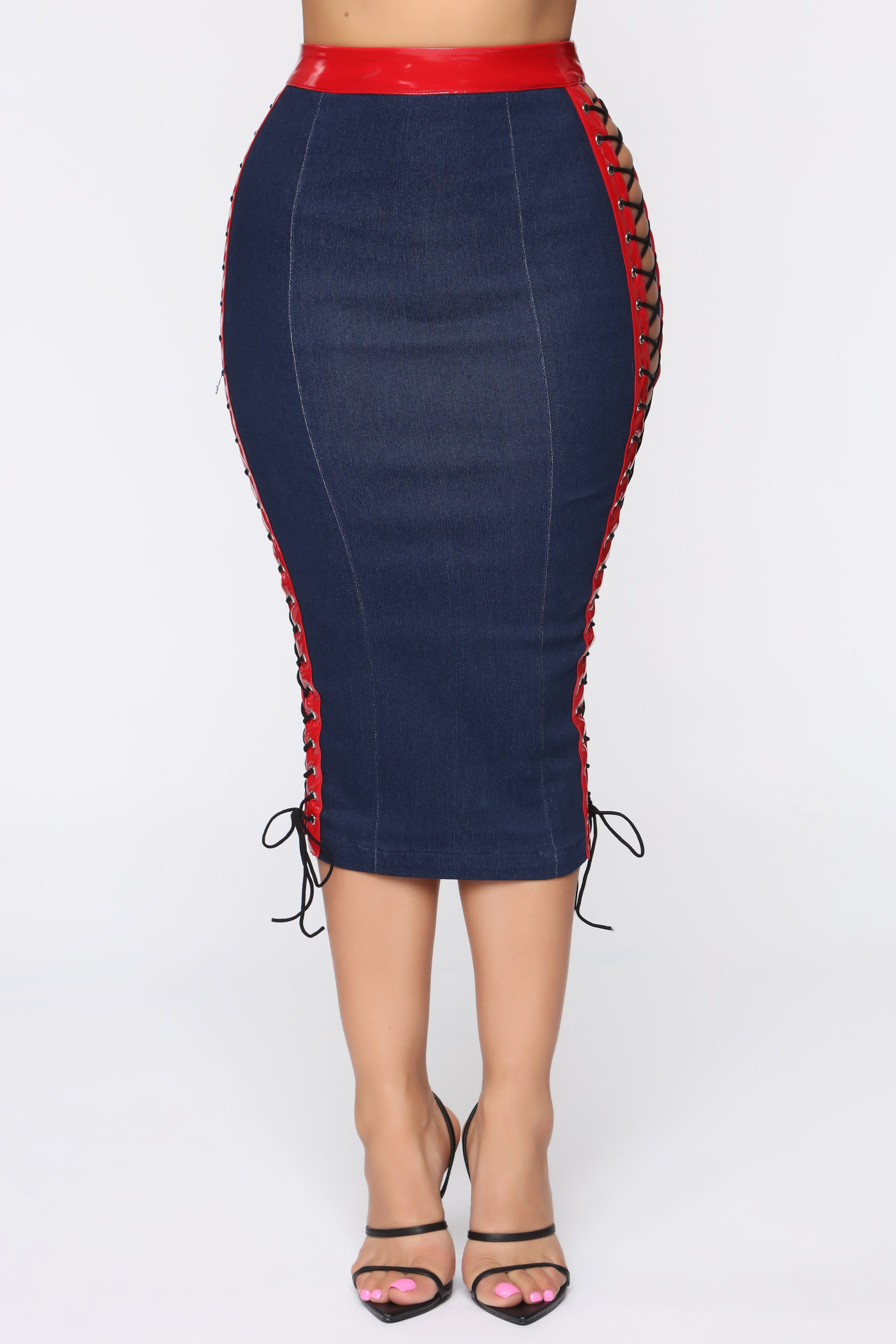 4d048603f0ecd Out Of This World Skirt Set - Red/Denim