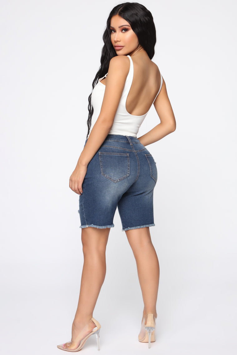 Put It On Me Distressed Bermuda Shorts - DarkDenim