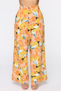 Cut The Crop Floral Pants - Mustard Angle 2