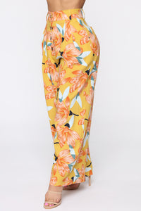 Cut The Crop Floral Pants - Mustard Angle 4