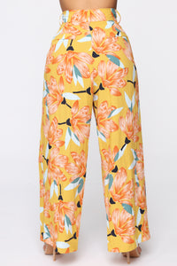 Cut The Crop Floral Pants - Mustard Angle 6