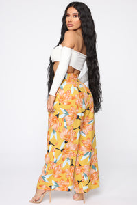 Cut The Crop Floral Pants - Mustard Angle 5
