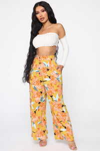 Cut The Crop Floral Pants - Mustard Angle 3