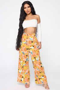 Cut The Crop Floral Pants - Mustard Angle 1