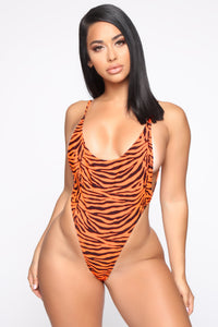 The One You Need High Cut Swimsuit - Orange/Black