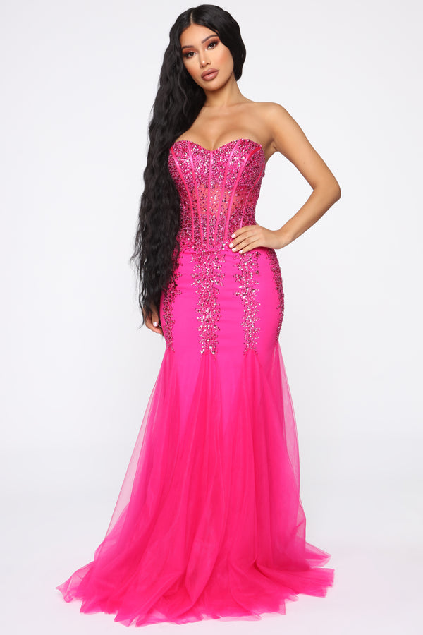 58661986741 Perfect Melody Embellished Gown - Hot Pink