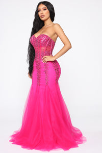 Perfect Melody Embellished Gown - Hot Pink