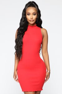 You Don't Say Ribbed Dress - Red Angle 1