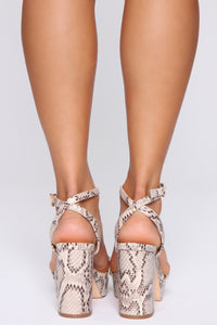 Restrictions Free Heeled Sandals - Brown Snake